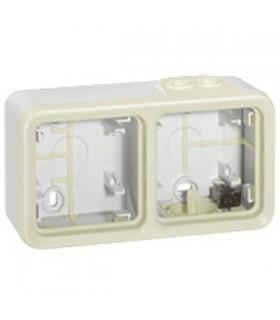 Boitier Blanc Plexo 2 postes horizontaux - A compléter