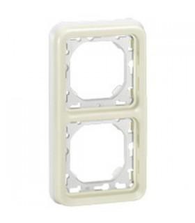 Support plaque Plexo 2 postes verticaux Blanc à compléter