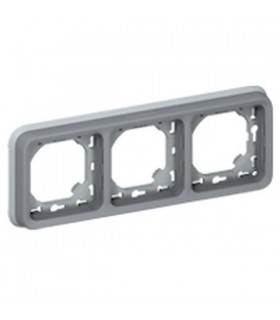 Support plaque Plexo 3 postes horizontaux Gris à compléter