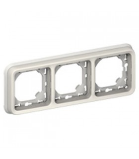 Support plaque Plexo 3 postes horizontaux Blanc à compléter