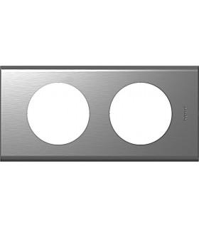 Plaque Céliane 2 postes, finition: Métal Inox brossé, entraxe 71 mm.