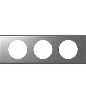 Plaque Céliane 3 postes, finition: Métal Inox brossé, entraxe 71 mm.
