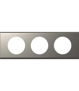 Plaque Céliane 3 postes, finition: Métal Nickel velours, entraxe 71 mm.