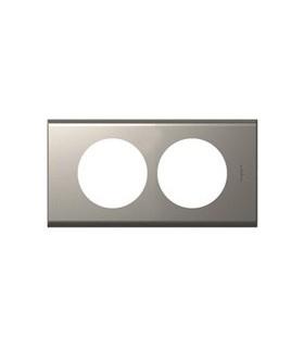 Plaque Céliane. 2 postes, finition: Métal Nickel velours, entraxe 57 mm Rénovation.