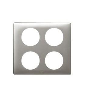 Plaque Céliane 4 postes (2 + 2). Anodisé Titane, entraxe 71 mm.