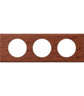 Plaque Céliane 3 postes, finition: Bois Acajou, entraxe 71 mm.