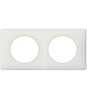 Plaque Céliane Poudré 2 postes, finition: Blanc, entraxe 71 mm.