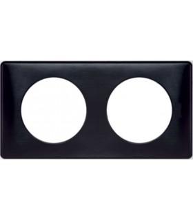 Plaque Céliane 2 postes, finition: Anodisé Carbone