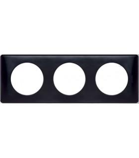 Plaque Céliane 3 postes, finition: Anodisé Carbone
