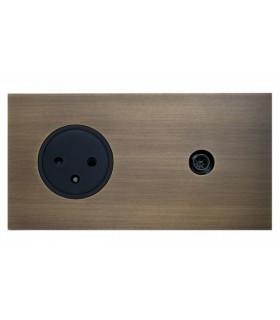 Prise TV + PC Art Epure Bronze