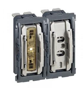 Double interrupteur, 1 avec voyant lumineux, 1 sans voyant.