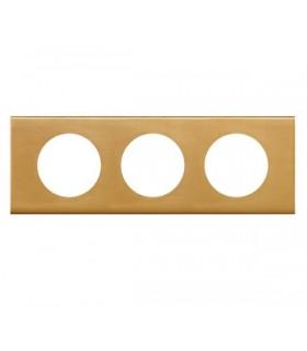 Plaque Céliane Alliage 3 postes, finition: Bronze Doré, entraxe 71 mm.