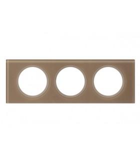 Plaque Céliane Verre 3 postes, finition: Moka, entraxe 71 mm.