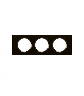 Plaque Céliane 3 postes, finition: Verre Noir Piano, entraxe 71 mm.