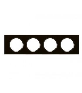 Plaque Céliane. 4 postes, finition: Verre Noir Piano, entraxe 71 mm.