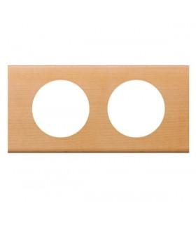 Plaque Céliane 2 postes, finition: Bois Erable, entraxe 71 mm.