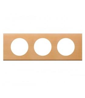 Plaque Céliane 3 postes, finition: Bois Erable, entraxe 71 mm.