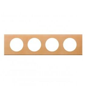 Plaque Céliane 4 postes, finition: Bois Erable, entraxe 71 mm.