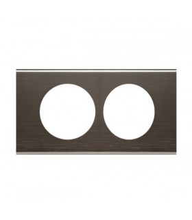 Plaque Céliane Black Nickel, 2 postes entraxe 57 mm.