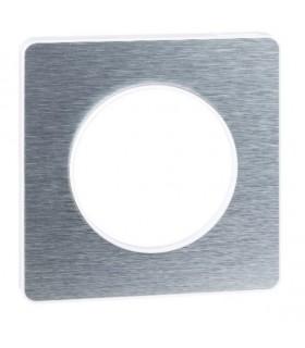 Plaque 1 poste Odace Touch Aluminium Brossé