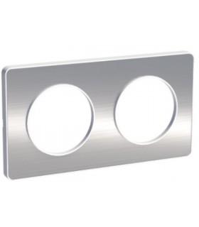 Plaque 2 postes Odace Touch Aluminium Brossé
