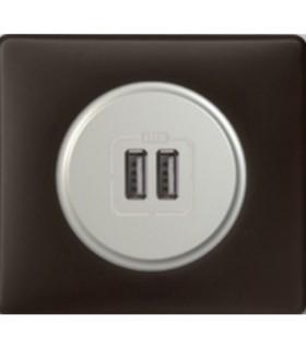 Double prise chargeur USB - Céliane finition Basalte