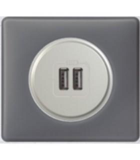 Prise double Chargeur USB Céliane Poudré Schiste