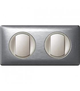Double Interrupteur Va et vient 2 postes Céliane Aluminium