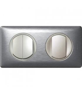 Triple Interrupteur Va et vient 2 postes Céliane Aluminium
