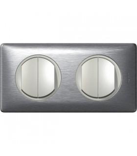Quadruple Interrupteur Va et vient 2 postes Céliane Aluminium