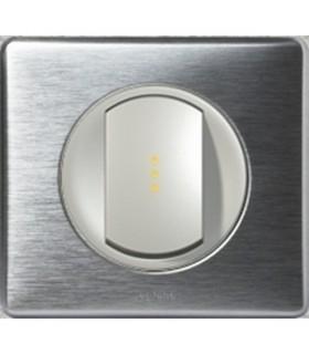 Interrupteur Va et Vient à Voyant lumineux Céliane Aluminium