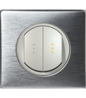 Double Interrupteur à voyant témoin Céliane Anodisé Aluminium