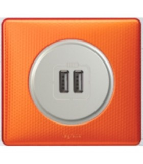 Chargeur USB Céliane double, Orange Snake