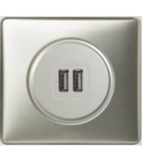 Double chargeur USB Céliane Titane
