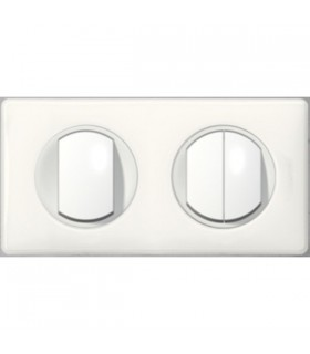 Triple interrupteur deux postes  Blanc Laqué