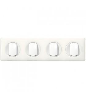 Quadruple interrupteurs 4 postes Céliane Blanc