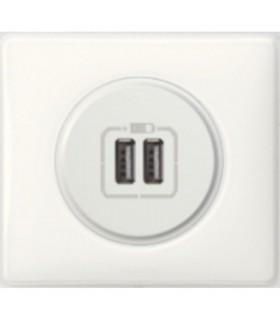 Prise chargeur USB double Céliane Blanc