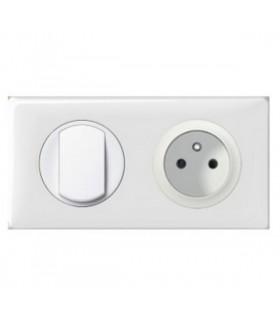 Prise de courant + interrupteur Plaque (2 postes) Céliane Blanc
