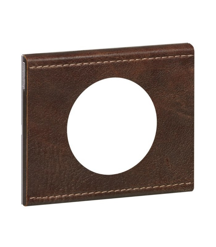plaque c liane legrand finition cuir brun textur 1. Black Bedroom Furniture Sets. Home Design Ideas