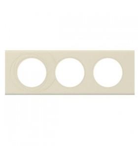 Legrand Plaque Céliane Cuir, finition Perle Couture, 3 postes entraxe 71 mm
