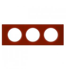 Legrand Plaque Céliane Verre 3 postes finition Carmin  (entraxe 71 mm).