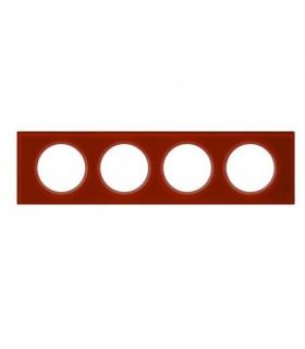 Legrand Plaque Céliane Verre finition Carmin : 4 postes (entraxe 71 mm).