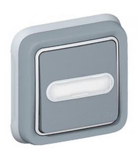 Bouton Poussoir lumineux Sonnette 12 V Plexo gris encastré