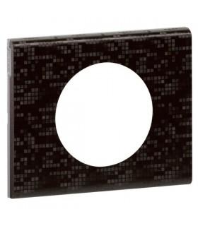 Plaque 1 poste Céliane Cuir finition Pixel