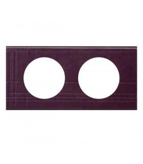 Plaque Céliane Cuir, finition: Pourpre Couture, 2 postes, entraxe 71 mm