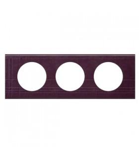 Plaque Céliane Cuir, 3 postes, finition: Pourpre Couture, entraxe 71 mm