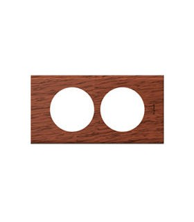 Plaque Céliane Réno (entraxe 57 mm) : 2 postes, finition: Bois Acajou