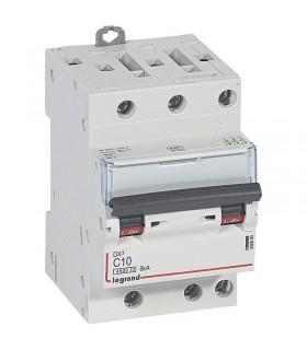 Disjoncteur tripolaire 10 A Disjoncteur DX3 - Courbe C - 4.5 kA