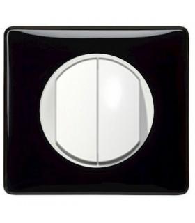 Poussoir + Va et Vient Blanc Céliane Laqué Noir