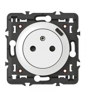 Prise de courant + chargeur USB Type-C Blanc